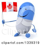 Clipart Of A 3d Happy Blue And White Pill Character Holding A Canadian Flag And Walking Slightly To The Left Royalty Free Illustration