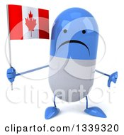 Clipart Of A 3d Unhappy Blue And White Pill Character Holding A Canadian Flag And Giving A Thumb Down Royalty Free Illustration