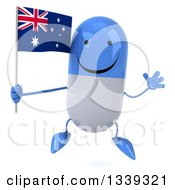 Clipart Of A 3d Happy Blue And White Pill Character Holding An Australian Flag And Jumping Royalty Free Illustration