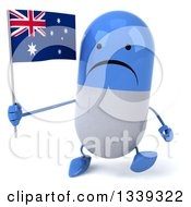 Clipart Of A 3d Unhappy Blue And White Pill Character Holding An Australian Flag And Walking Royalty Free Illustration