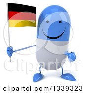 Clipart Of A 3d Happy Blue And White Pill Character Holding And Pointing To A German Flag Royalty Free Illustration