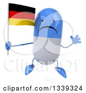 Clipart Of A 3d Unhappy Blue And White Pill Character Holding A German Flag And Jumping Royalty Free Illustration