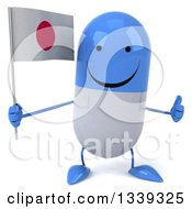 Clipart Of A 3d Happy Blue And White Pill Character Holding A Japanese Flag And Giving A Thumb Up Royalty Free Illustration