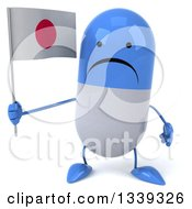 Clipart Of A 3d Unhappy Blue And White Pill Character Holding A Japanese Flag Royalty Free Illustration