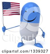 Clipart Of A 3d Happy Blue And White Pill Character Holding An American Flag Royalty Free Illustration