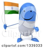 Clipart Of A 3d Happy Blue And White Pill Character Holding And Pointing To An Indian Flag Royalty Free Illustration