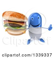 Clipart Of A 3d Happy Blue And White Pill Character Holding Up A Double Cheeseburger And Thumb Royalty Free Illustration