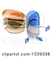Clipart Of A 3d Unhappy Blue And White Pill Character Holding Up A Double Cheeseburger And Thumb Down Royalty Free Illustration