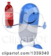 Clipart Of A 3d Happy Blue And White Pill Character Holding A Soda Bottle And Giving A Thumb Up Royalty Free Illustration