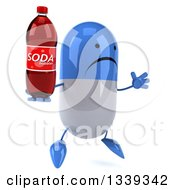 Clipart Of A 3d Unhappy Blue And White Pill Character Holding A Soda Bottle Facing Slightly Right And Jumping Royalty Free Illustration by Julos