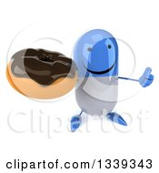 Clipart Of A 3d Happy Blue And White Pill Character Holding Up A Thumb And A Chocolate Glazed Donut Royalty Free Illustration