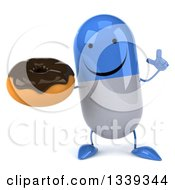 Clipart Of A 3d Happy Blue And White Pill Character Holding Up A Finger And A Chocolate Glazed Donut Royalty Free Illustration by Julos