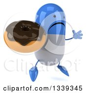 Clipart Of A 3d Unhappy Blue And White Pill Character Facing Slightly Right Jumping And Holding A Chocolate Glazed Donut Royalty Free Illustration by Julos