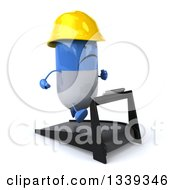 Clipart Of A 3d Unhappy Blue And White Pill Contractor Character Facing Right And Running On A Treadmill Royalty Free Illustration