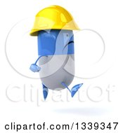Clipart Of A 3d Unhappy Blue And White Pill Contractor Character Facing Right And Running Royalty Free Illustration by Julos