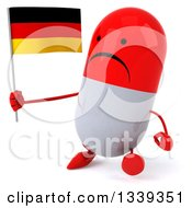 Clipart Of A 3d Unhappy Red And White Pill Character Holding A German Flag And Walking Slightly To The Left Royalty Free Illustration