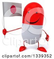 Clipart Of A 3d Happy Red And White Pill Character Holding A Japanese Flag Royalty Free Illustration by Julos