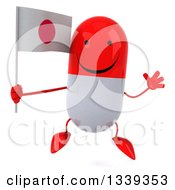 Clipart Of A 3d Happy Red And White Pill Character Holding A Japanese Flag And Jumping Royalty Free Illustration