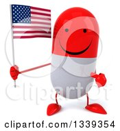 Clipart Of A 3d Happy Red And White Pill Character Holding And Pointing To An American Flag Royalty Free Illustration