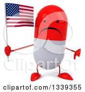 Clipart Of A 3d Unhappy Red And White Pill Character Holding An American Flag And Giving A Thumb Down Royalty Free Illustration