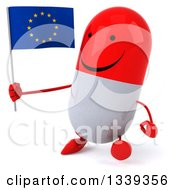 Clipart Of A 3d Happy Red And White Pill Character Holding A European Flag And Walking Slightly To The Left Royalty Free Illustration