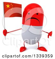 Clipart Of A 3d Unhappy Red And White Pill Character Holding A Chinese Flag And Giving A Thumb Down Royalty Free Illustration