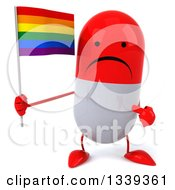 Clipart Of A 3d Unhappy Red And White Pill Character Holding And Pointing To A Rainbow Flag Royalty Free Illustration