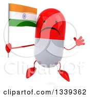 Clipart Of A 3d Unhappy Red And White Pill Character Holding An Indian Flag And Jumping Royalty Free Illustration