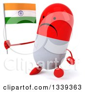 Clipart Of A 3d Unhappy Red And White Pill Character Holding An Indian Flag And Walking Slightly To The Left Royalty Free Illustration