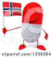 Clipart Of A 3d Happy Red And White Pill Character Holding A Norwegian Flag Royalty Free Illustration