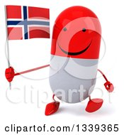 Clipart Of A 3d Happy Red And White Pill Character Holding A Norwegian Flag And Walking Royalty Free Illustration