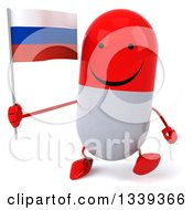 Clipart Of A 3d Happy Red And White Pill Character Holding A Russian Flag And Walking Royalty Free Illustration by Julos