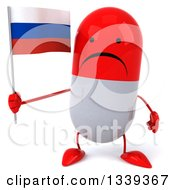 Clipart Of A 3d Unhappy Red And White Pill Character Holding A Russian Flag Royalty Free Illustration