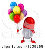 Clipart Of A 3d Unhappy Red And White Pill Character Holding And Pointing To Party Balloons Royalty Free Illustration