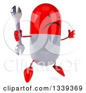 Clipart Of A 3d Unhappy Red And White Pill Character Facing Slightly Right Jumping And Holding A Wrench Royalty Free Illustration