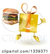 Clipart Of A 3d Happy Yellow Gift Character Jumping And Holding A Double Cheeseburger Royalty Free Illustration by Julos