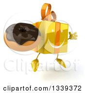 Clipart Of A 3d Happy Yellow Gift Character Holding A Chocolate Glazed Donut Facing Slightly Right And Jumping Royalty Free Illustration by Julos