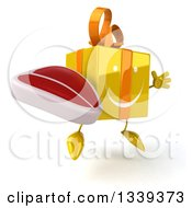 Clipart Of A 3d Happy Yellow Gift Character Holding A Beef Steak Facing Slightly Right And Jumping Royalty Free Illustration by Julos