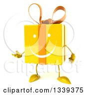 Clipart Of A 3d Yellow Gift Character Presenting Royalty Free Illustration by Julos
