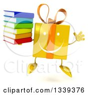 Clipart Of A 3d Happy Yellow Gift Character Jumping And Holding A Stack Of Books Royalty Free Illustration by Julos