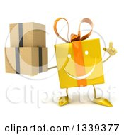 Clipart Of A 3d Happy Yellow Gift Character Holding Up A Finger And Boxes Royalty Free Illustration by Julos