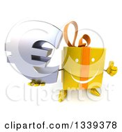 Clipart Of A 3d Happy Yellow Gift Character Holding Up A Thumb And A Euro Symbol Royalty Free Illustration by Julos