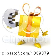 Clipart Of A 3d Happy Yellow Gift Character Shrugging And Holding A Euro Symbol Royalty Free Illustration by Julos