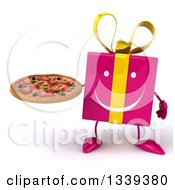 Clipart Of A 3d Happy Pink Gift CharacterHolding A Pizza Royalty Free Illustration