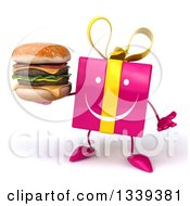 Clipart Of A 3d Happy Pink Gift Character Shrugging And Holding A Double Cheeseburger Royalty Free Illustration