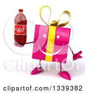 Clipart Of A 3d Happy Pink Gift Character Shrugging And Holding A Soda Bottle Royalty Free Illustration by Julos