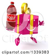 Clipart Of A 3d Happy Pink Gift Character Facing Slightly Right Jumping And Holding A Soda Bottle Royalty Free Illustration by Julos