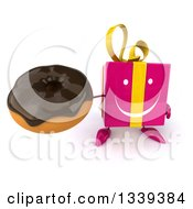 Clipart Of A 3d Happy Pink Gift Character Holding Up A Chocolate Glazed Donut Royalty Free Illustration by Julos
