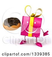 Clipart Of A 3d Happy Pink Gift Character Shrugging And Holding A Chocolate Glazed Donut Royalty Free Illustration by Julos