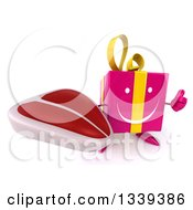 Clipart Of A 3d Happy Pink Gift Character Holding Up A Thumb And A Beef Steak Royalty Free Illustration